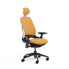 Steelcase Adjustable Leap Desk Chair + Headrest Carrot Buzz2 Fabric Black frame