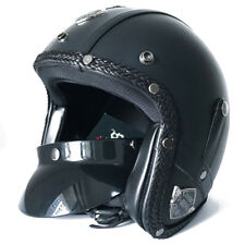 Harley Motorcycle Leather Helmet MotorBike 3/4 Open Face Scooter Classical DOT