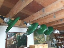X4 Large Green Vintage Factory Metal ceiling  Light Fittings