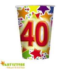 bicchieri 200cc stardust 40 anni compleanno ricorrenza festa party tavola 10 pz