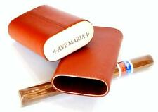 AVE MARIA Exotic Camel Leather & Camel Bone Cap 3 Cigar Pocket Case - SHIPS FREE