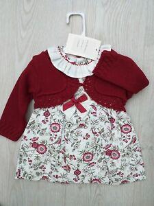 Baby Girls Spanish wine red Floral 2 Piece Dress set 18 Months
