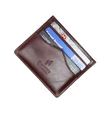 STARHIDE MENS REAL LEATHER ULTRA SLIM THIN CREDIT CARD HOLDER WALLET BROWN 1215