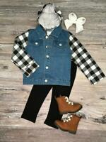 Toddler Girls or Boys Buffalo Plaid Denim Hoodie Jean Jacket, 2T 3T 4T 5 6 7 8