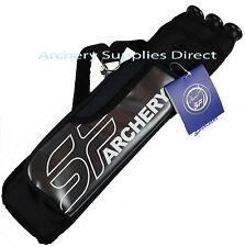 Left Handed SF Archery Arrow Quiver Holder 3 Tubes Inc External Pocket Black