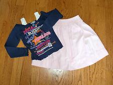 Girls Lot of 2 STRASBURG Pink Skirt & SKECHERS Navy Long Sleeve Shirt Size 7