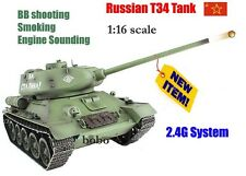 Radio Remote Control RC Military TANK HENG LONG 2.4G T34  BB Shooting 1/16 UK
