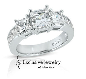 4.10 Carats Women's 3 Stone Princess Cut Diamond Engagement Ring 14k White Gold