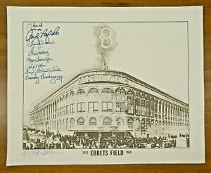 Brooklyn Dodgers Signed Ebbets Field Lithograph 8 Autographs with Chuck Connors