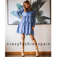 ZARA WOMAN NWT SS20 SALE! BLUISH EMBROIDERED EYELET DRESS ALL SIZES 0881/104