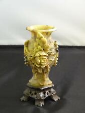 Antique Chinese Carved Soapstone Tear Bottle, Flowering Branch, C. 19th Century