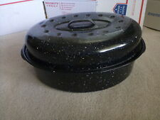 "New listing Vintage 15"" Id Long Oval Oven Roaster Pan Enamel w/ Lid Dark Blue Speckled Nice"