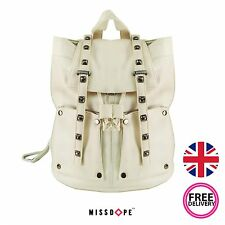 NEW CREAM FAUX LEATHER STUD BACKPACK SHOULDER SCHOOL TRAVEL BAG RUCKSACK GIRLS
