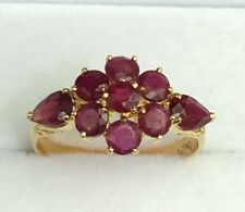 14k Solid Yellow Gold Cluster Band Ring, Natural Ruby 2.5TCW, Size 8.0