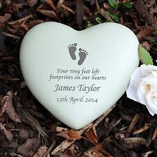 Personalised Baby Footprints Heart Memorial Ornament Grave In Loving Memory