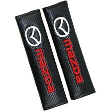 2PCS Black Carbon Fiber Look Embroidery Logo MAZDA Seat Belt Cover Shoulder Pads
