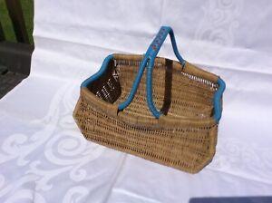 Vintage Wicker Rectangular Shaped Basket with Blue and Orange  Handle & Ends