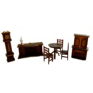 Dolls House Miniature 1:48 Scale Plastic Dining Room Furniture Set Suite