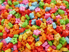 100! 4mm Stars - Tiny Micro Star Craft Buttons - Sunny Colour Mix Button