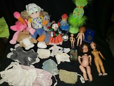 Junk Drawer Lot Misc. Vintage Doll Lot, beanie baby, vtg. Doll clothes and more