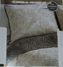 Threshold Standard Quilted Pillow Sham Cotton Cream Botanical Beach Cottage~Htf