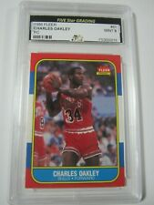 1986 Fleer #81 CHARLES OAKLEY Chicago Bulls Rookie Basketball Card RC Mint 9