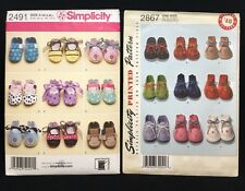 Simplicity 2491 2867 Felt booties +Shoes Baby XS-S-M-L OS | UNCUT Sewing Pattern