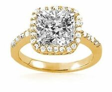 1.82 ct Cushion Cut DIAMOND Halo Engagement Solitaire 14k Yellow Gold Ring I SI1