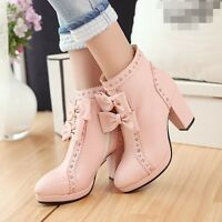 Lolita bowknot zip ankle boots sweet womens block heel hollow out Pump Plus Size