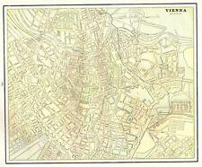 1892 Antique VIENNA Austria Map of Vienna Gallery Wall Art Original Map 4493