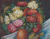 Still-Life Summer Flowers of Chrysanthemums Pastel Painting Initialled FO c1980s