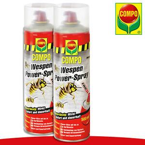 COMPO 2 x 500 ml Wespen Power-Spray 4m Sprühweite Bekämpfung Garten Abwehr Haus