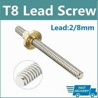 ACME Stepper T8x2 Lead Screw Threaded Rod Trapezoidal 150 200 250 300 400 50