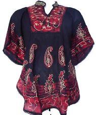 "Ladies's Plus Size Poncho Tie Dye Blouse Vintage Top Dress Black Red 66"" around"