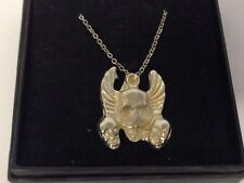"""Skulls And Wings GT45 Pewter On 18"""" Silver Plated Curb Necklace"""