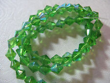 61 AB  Green Glass Beads Jewelry Bead about 6mm Faceted Bi Cone