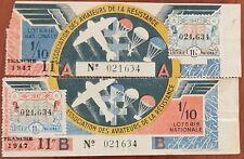 Billet de loterie nationale entier 1947 11e tr A & B  Aviateurs de la Résistance