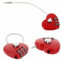 Red Heart Wire Combination Lock Travel Luggage Small Padlock Key Suitcase
