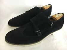 NEW $100 Zara Man Mens Wingtip Dress Shoes Canvas Black Monk Buckle Sz 11 / 44
