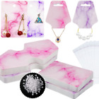 800 Pieces Marble Design Earring Necklace Card Jewelry Display Card Holder Set