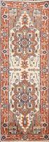 Geometric Ivory Heriz Serapi Oriental Runner Rug Hand-knotted Wool Carpet 2x8 ft