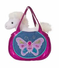 Douglas Cuddle Toys Shimmering Butterfly Sak Tote with White Horse Plush Toy