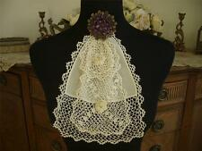 ELEGANT LAYERED HANDMADE Antique Vtg IRISH CROCHET LACE JABOT COLLAR DRESS FRONT