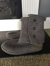 Uggs Gray Cardy Knit Cardigan Boots Size 9 Needs Repairs UGG Australia