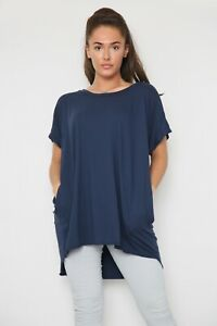New Ladies Plain Lightweight Italian Layering Casual Cotton Quirky Pocket Top