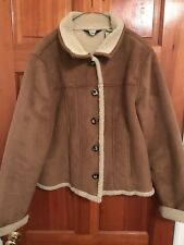 L.L.Bean Women's Faux Suede Shearling Lined Coat Brown Size Large