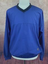FootJoy V-Neck Windshirt Windbreaker Jacket Blue Navy Blue Check Men's Large