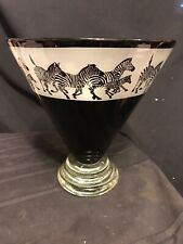 Correia Art Glass-Etched Black and White Zebras Vase - Limited Edition #337/500