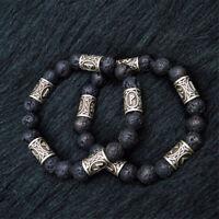 1pc Norse Viking Rune Spacer Lava Stone Beads Bracelet Men Women Cuff Jewelry