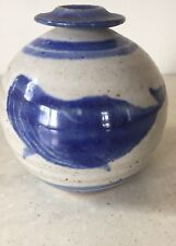 RFP Blue whale decorated vase Robert Fisherman Pottery  marks Signed